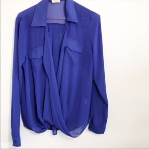 Tobi Faux Wrap Blue Blouse